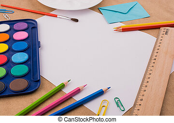 Art & Craft equipment on a wooden table