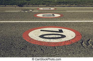Vintage looking Maximum speed sign - Vintage looking...