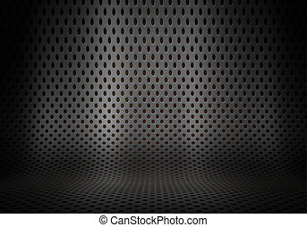 Prresentation background with curved perforated metal