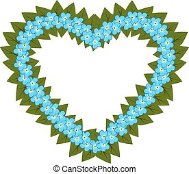 Forget me not flower heart, vector