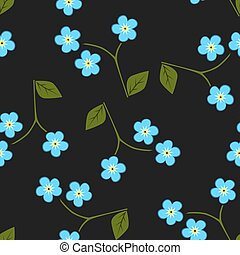 Seamless pattern forget me not, vector