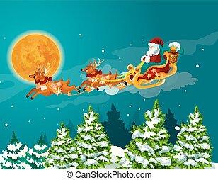 poster, rendier, Ontwerp, kerstman, arreslee, Kerstmis