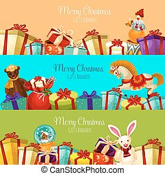 Christmas gift and toy banner set for xmas design