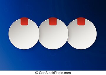 Three steps rounded infographics consist of 3d circles with place for text and small red banner or ribbon. Blue circular gradient background with 3 option timeline layout.