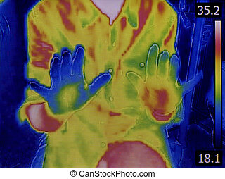 Hands Infrared Thermovision - Thermal Imaging of Human Hands...