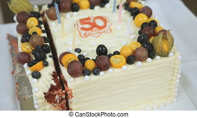Cake for the golden wedding 50 years. Close up - Celebratory...