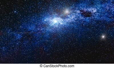 Milky Way in Antarctica on Vernadsky Station. Slow motion 4K...