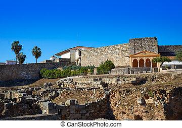 Merida Alcazaba in Spain Badajoz Extremadura by via de la...