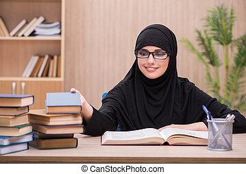 Woman muslim student preparing for exams