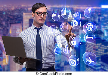 Businessman in modern business concept