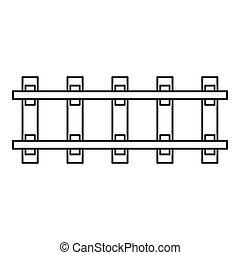 Railway icon, outline style - Railway icon. Outline...