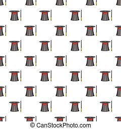 Magician hat and wand pattern, cartoon style