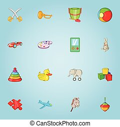Children toy icons set, cartoon style - Children toy icons...