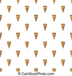 Ice cream in a waffle cone pattern, cartoon style