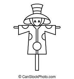 Scarecrow icon, outline style