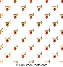 Trumpet with flag pattern, cartoon style - Trumpet with flag...