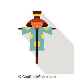 Scarecrow icon, flat style