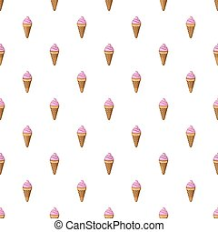 Strawberry ice cream in a waffle cone pattern