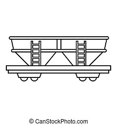 Freight railroad car icon, outline style - Freight railroad...
