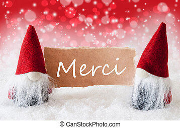 Red Christmassy Gnomes With Card, Merci Means Thank You -...