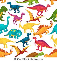 Dinosaur, jurassic animal monster seamless pattern -...