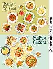 cucina, Piatti,  pasta, icona,  pizza, italiano