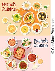 French cuisine national dish icon for menu design - French...