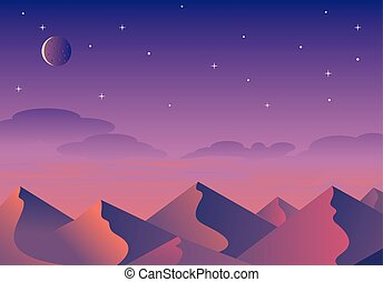 Cartoon desert landscape, hills and mountains silhouettes, vector nature horizontal background