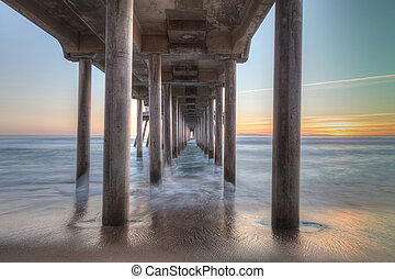 HDR Sunset behind the Huntington Beach pier in Southern...