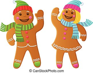 Gingerbread Boy and Girl Waving - Cartoon Illustration of...