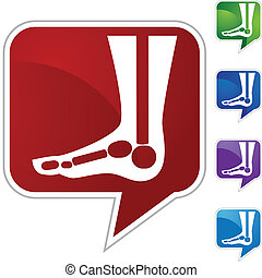 X-ray Foot - X-ray foot web button isolated on a background