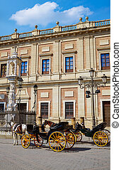 Seville Archivo Indias horse carriage Sevilla Spain -...