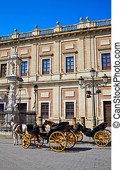 Seville Archivo Indias horse carriage in Sevilla Andalusia...