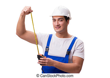 Man with tape measure isolated on white