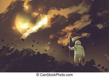 astronaut with a flag standing on mountain against a cloudy...
