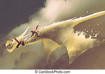 man riding on the white flying dragon against a cloudy...