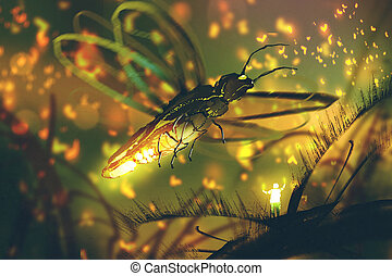 little man directing giant firefly in a night...