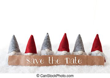 Gnomes, White Background, English Text Save The Date - Label...