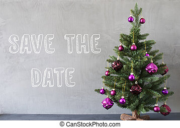 Christmas Tree, Cement Wall, English Text Save The Date -...