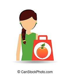 character shopper orange fruit vector illustration eps 10