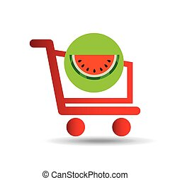 carry buying fruit watermelon icon graphic vector...