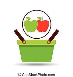 commerce green basket tasty apple vector illustraion eps 10