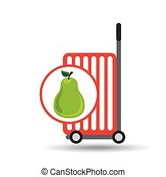trolley shop juicy pear fruit vector illustration eps 10