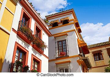 cidade, antigas, vida, Sevilla, Agua, ST, calle, Espanha...