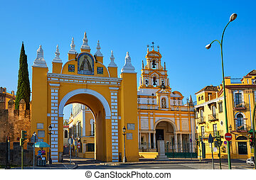 Seville Puerta de la Macarena and Basilica church in Sevilla...
