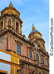San Luis church facade in Seville of Spain at Macarena...
