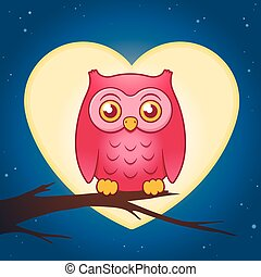 Cute pink owl perched on a branch of a leafless tree in...