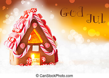 Gingerbread House, Golden Background, God Jul Means Merry...