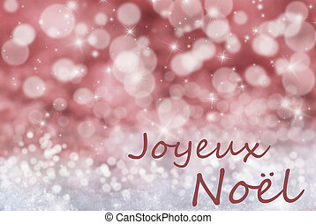 Red Bokeh Background, Snow, Joyeux Noel Mean Merry Christmas...