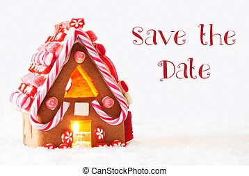 Gingerbread House, White Background, English Text Save The...